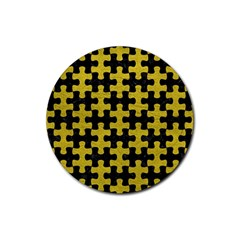 Puzzle1 Black Marble & Yellow Leather Rubber Coaster (round)