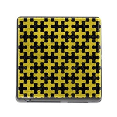 Puzzle1 Black Marble & Yellow Leather Memory Card Reader (square) by trendistuff