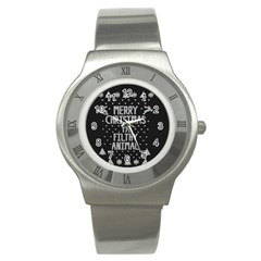 Ugly Christmas Sweater Stainless Steel Watch by Valentinaart