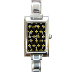 Royal1 Black Marble & Yellow Leather Rectangle Italian Charm Watch by trendistuff
