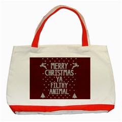 Ugly Christmas Sweater Classic Tote Bag (red) by Valentinaart