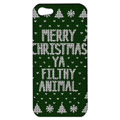 Ugly Christmas Sweater Apple Iphone 5 Hardshell Case by Valentinaart