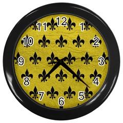 Royal1 Black Marble & Yellow Leather (r) Wall Clocks (black) by trendistuff