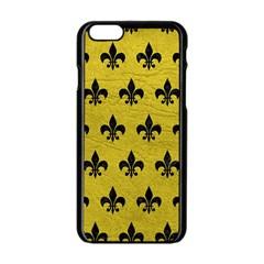 Royal1 Black Marble & Yellow Leather (r) Apple Iphone 6/6s Black Enamel Case by trendistuff