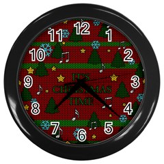 Ugly Christmas Sweater Wall Clocks (black) by Valentinaart