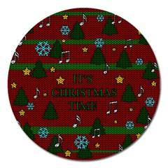 Ugly Christmas Sweater Magnet 5  (round) by Valentinaart