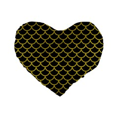Scales1 Black Marble & Yellow Leather (r) Standard 16  Premium Flano Heart Shape Cushions by trendistuff