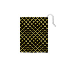 Scales1 Black Marble & Yellow Leather (r) Drawstring Pouches (xs)  by trendistuff