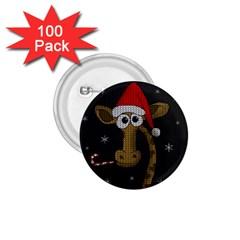 Christmas Giraffe  1 75  Buttons (100 Pack)  by Valentinaart