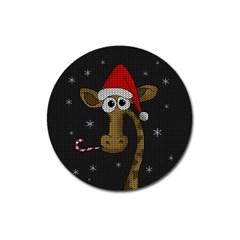 Christmas Giraffe  Magnet 3  (round) by Valentinaart