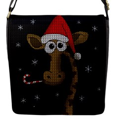 Christmas Giraffe  Flap Messenger Bag (s) by Valentinaart