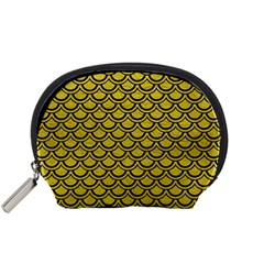 Scales2 Black Marble & Yellow Leather Accessory Pouches (small)  by trendistuff