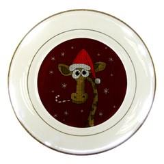 Christmas Giraffe  Porcelain Plates by Valentinaart