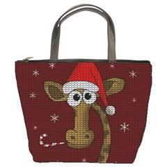Christmas Giraffe  Bucket Bags by Valentinaart