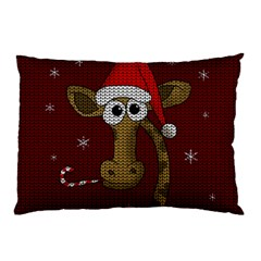 Christmas Giraffe  Pillow Case by Valentinaart
