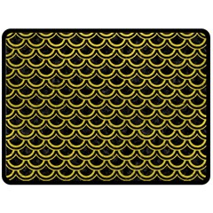 Scales2 Black Marble & Yellow Leather (r) Double Sided Fleece Blanket (large)  by trendistuff