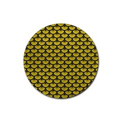 Scales3 Black Marble & Yellow Leather Rubber Coaster (round)  by trendistuff