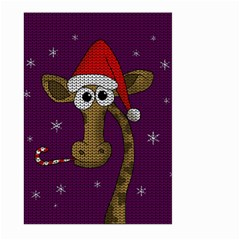 Christmas Giraffe  Large Garden Flag (two Sides) by Valentinaart