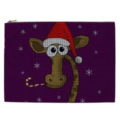 Christmas Giraffe  Cosmetic Bag (xxl)  by Valentinaart