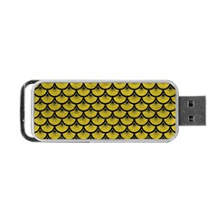 Scales3 Black Marble & Yellow Leather Portable Usb Flash (one Side)