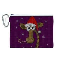 Christmas Giraffe  Canvas Cosmetic Bag (l) by Valentinaart