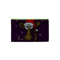 Christmas Giraffe  Cosmetic Bag (xs) by Valentinaart