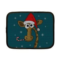 Christmas Giraffe  Netbook Case (small)  by Valentinaart