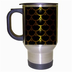 Scales3 Black Marble & Yellow Leather (r) Travel Mug (silver Gray) by trendistuff