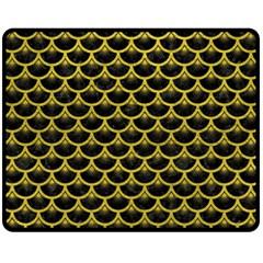 Scales3 Black Marble & Yellow Leather (r) Fleece Blanket (medium)  by trendistuff