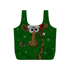 Christmas Giraffe  Full Print Recycle Bags (s)