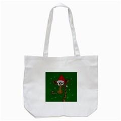 Christmas Giraffe  Tote Bag (white) by Valentinaart