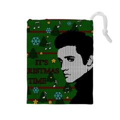 Elvis Presley   Christmas Drawstring Pouches (large)  by Valentinaart