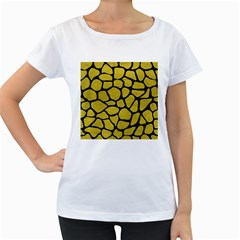 Skin1 Black Marble & Yellow Leather (r) Women s Loose Fit T Shirt (white) by trendistuff