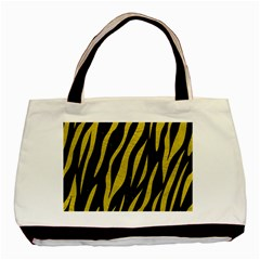 Skin3 Black Marble & Yellow Leather (r) Basic Tote Bag (two Sides)