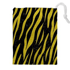 Skin3 Black Marble & Yellow Leather (r) Drawstring Pouches (xxl) by trendistuff