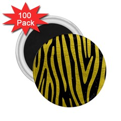 Skin4 Black Marble & Yellow Leather 2 25  Magnets (100 Pack)  by trendistuff