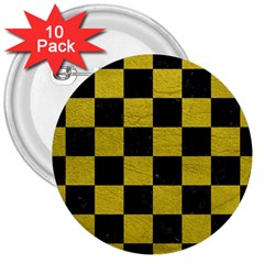 Square1 Black Marble & Yellow Leather 3  Buttons (10 Pack)