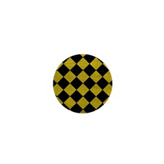 Square2 Black Marble & Yellow Leather 1  Mini Buttons by trendistuff