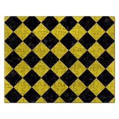 Square2 Black Marble & Yellow Leather Rectangular Jigsaw Puzzl by trendistuff