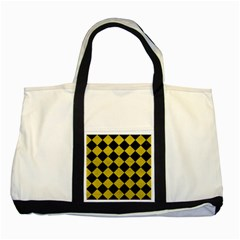 Square2 Black Marble & Yellow Leather Two Tone Tote Bag by trendistuff