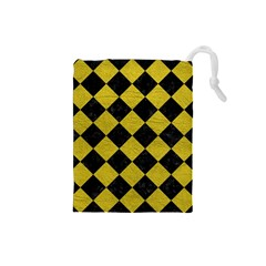 Square2 Black Marble & Yellow Leather Drawstring Pouches (small)  by trendistuff