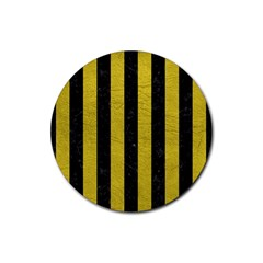 Stripes1 Black Marble & Yellow Leather Rubber Coaster (round)