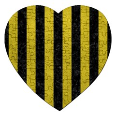 Stripes1 Black Marble & Yellow Leather Jigsaw Puzzle (heart) by trendistuff