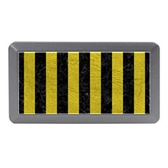 Stripes1 Black Marble & Yellow Leather Memory Card Reader (mini) by trendistuff