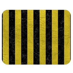 Stripes1 Black Marble & Yellow Leather Double Sided Flano Blanket (medium)  by trendistuff