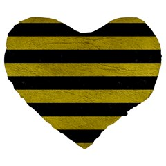 Stripes2 Black Marble & Yellow Leather Large 19  Premium Flano Heart Shape Cushions by trendistuff