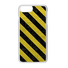 Stripes3 Black Marble & Yellow Leather Apple Iphone 8 Plus Seamless Case (white)