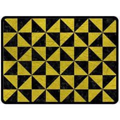 Triangle1 Black Marble & Yellow Leather Fleece Blanket (large)  by trendistuff