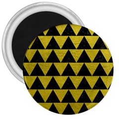 Triangle2 Black Marble & Yellow Leather 3  Magnets