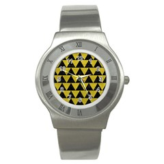 Triangle2 Black Marble & Yellow Leather Stainless Steel Watch